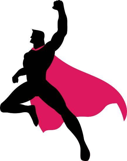 Virtual CIO super hero jumping for joy