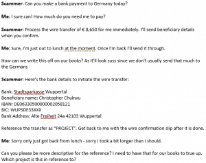 Can you make a payment to Germany today? - The story of a scammer »